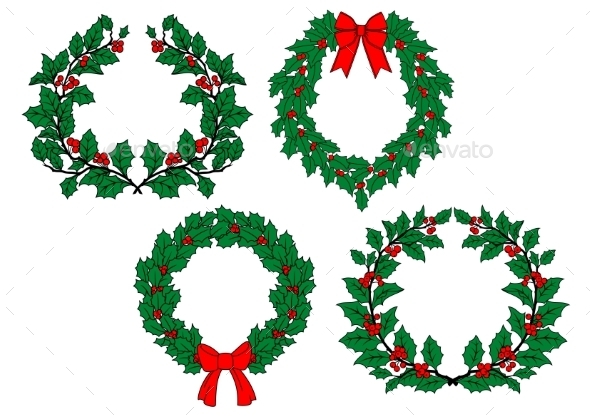 GraphicRiver Christmas Holly Garlands Set 9813572