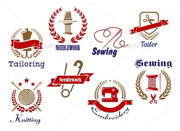 GraphicRiver Retro Needlework Emblems Set 9813578