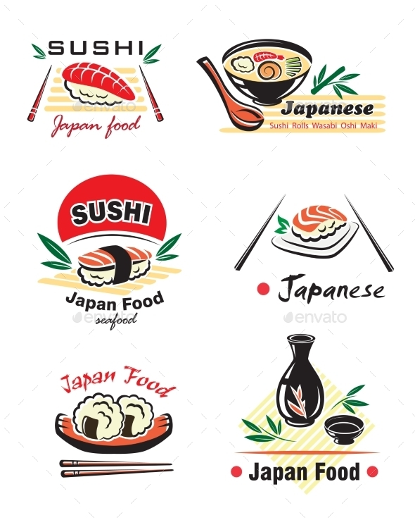 GraphicRiver Japanese Sushi Seafood Emblems 9813579