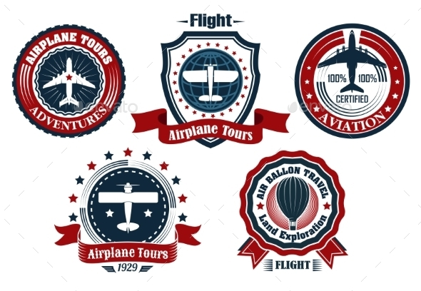GraphicRiver Retro Flight Emblems 9813586