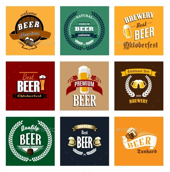 GraphicRiver Vintage Beer Labels 9813697