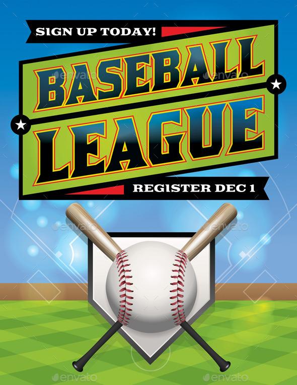 GraphicRiver Vector Baseball League Illustration 9813704