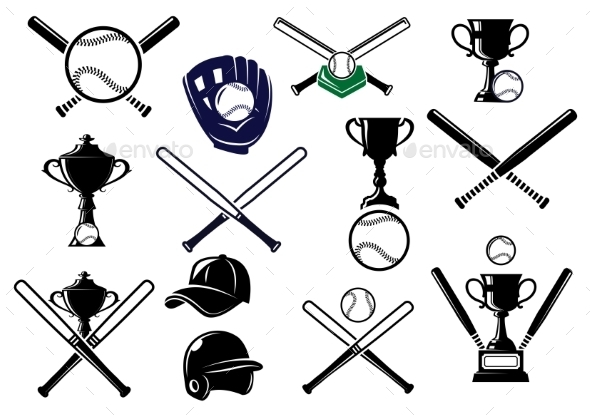 GraphicRiver Baseball Equipments Set 9813706