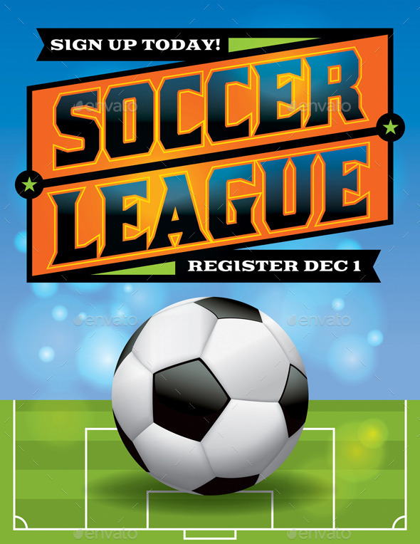 GraphicRiver Vector Soccer League Flyer Illustration 9813707