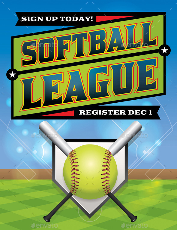 GraphicRiver Vector Softball League Flyer Illustration 9813713