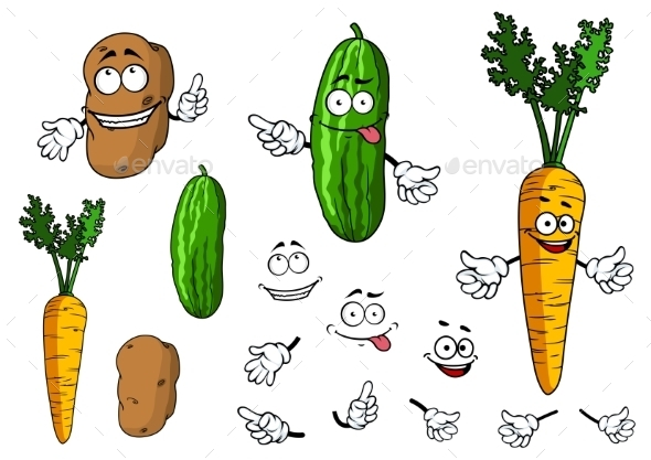 GraphicRiver Cartoon Vegetable Characters 9813714