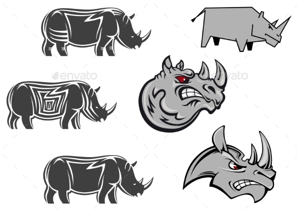 GraphicRiver African Rhinoceros Characters 9813717
