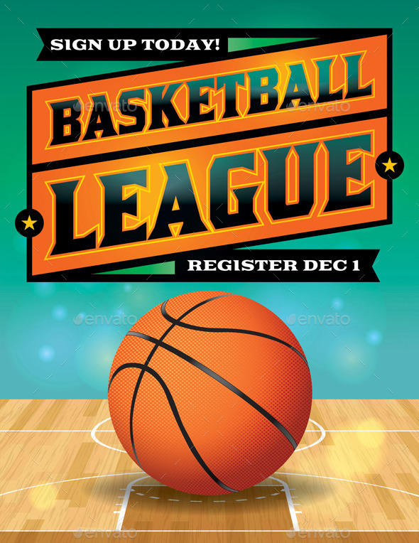 GraphicRiver Vector Basketball League Flyer Illustration 9813718
