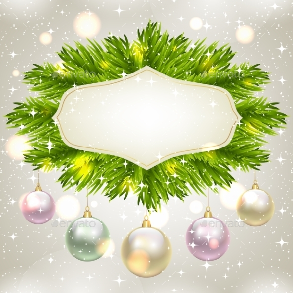 GraphicRiver Fir Tree Frame with Baubles 9813793