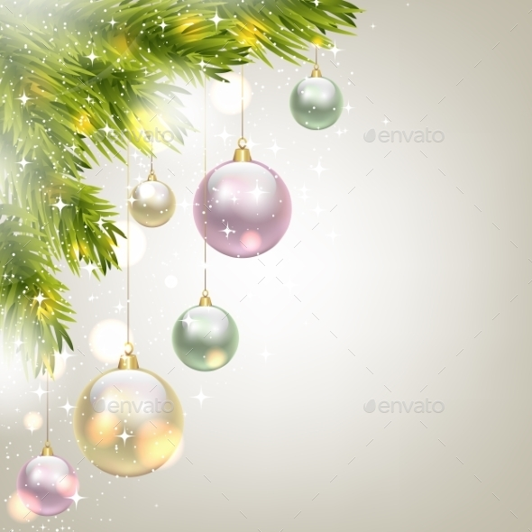 GraphicRiver Fir Tree Background with Baubles 9813795