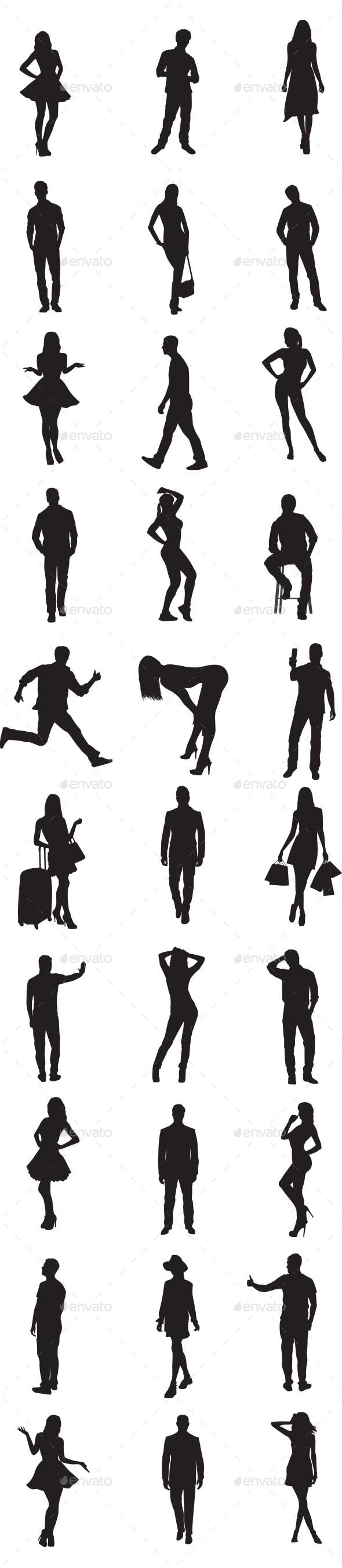 GraphicRiver People Silhouettes 9813865