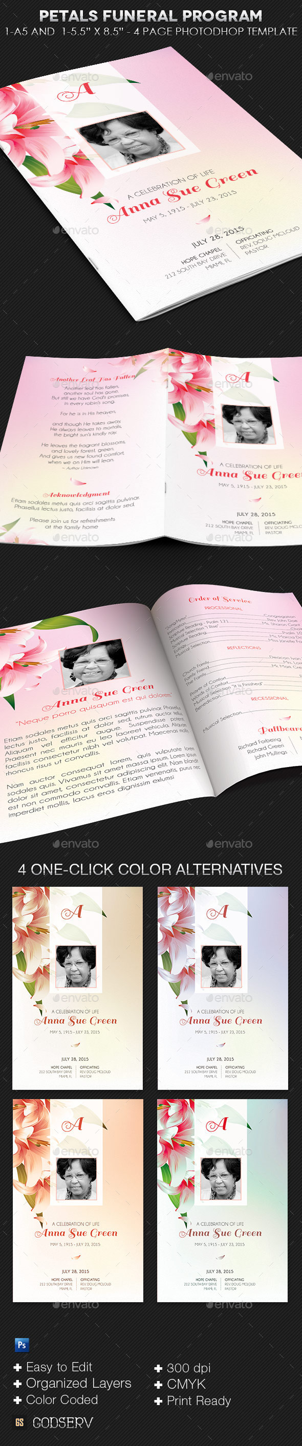 GraphicRiver Petals Funeral Program Template 9814524