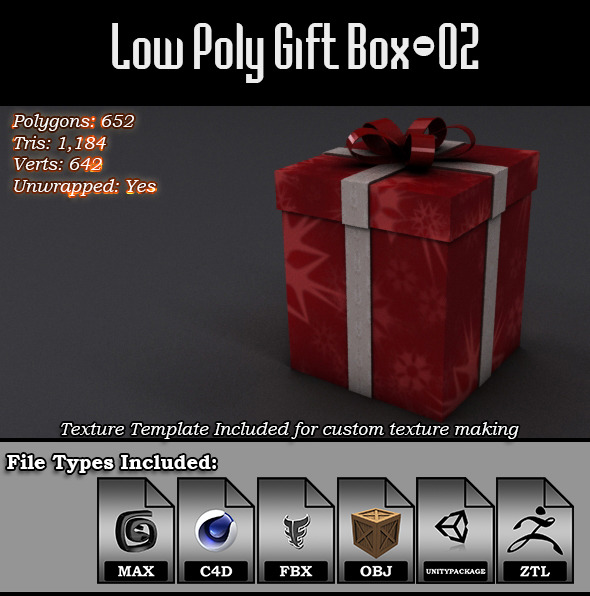 Low Poly Gift Box - 02 - 3DOcean Item for Sale