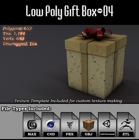 3DOcean Low Poly Gift Box 04 9814592