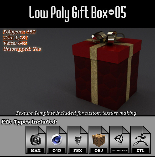 3DOcean Low Poly Gift Box 05 9814633