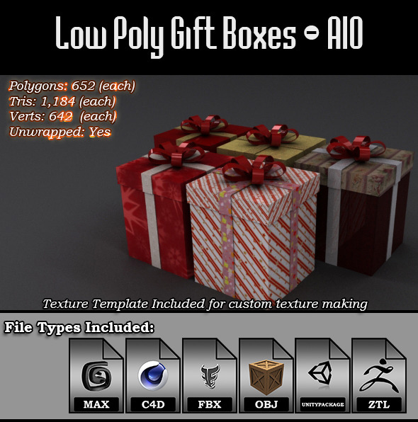 Low Poly Gift Boxes All-In-One