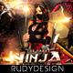 Ninja Warrior Party Flyer Design