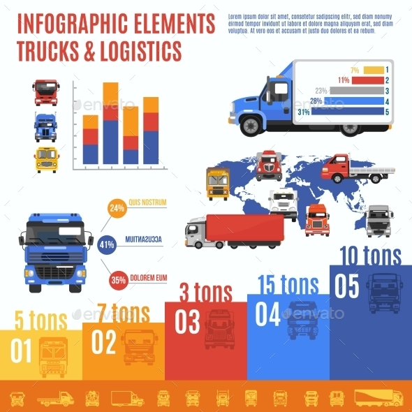 GraphicRiver Truck Infographic Set 9814961