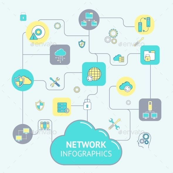 GraphicRiver Network And Server Infographics 9815051