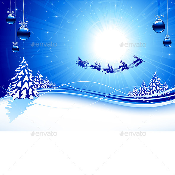 GraphicRiver Blue Christmas Background 9815245