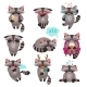 Racoon Emotions Stickers Set - GraphicRiver Item for Sale