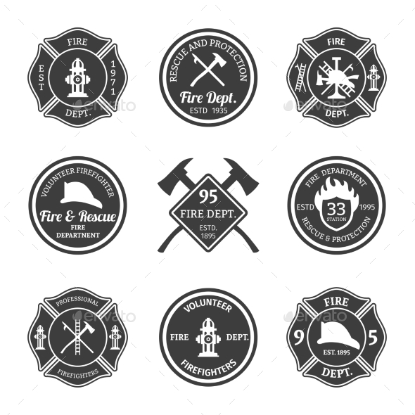 GraphicRiver Fire Department Emblems Black 9815290