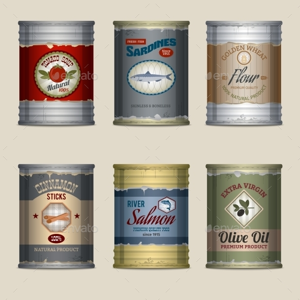 GraphicRiver Food Cans Set 9815291