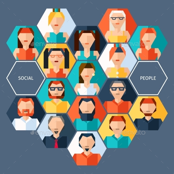 GraphicRiver Avatars Hexagon Concept 9815299