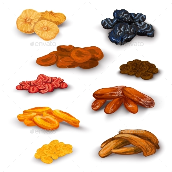 GraphicRiver Dried Fruit Icons Set 9815302