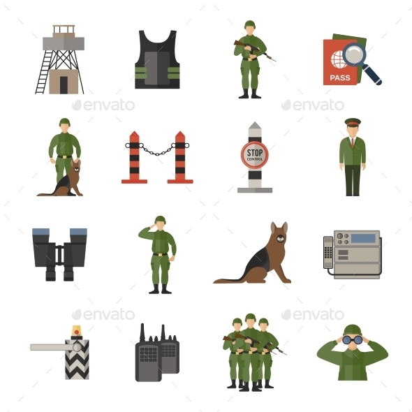 GraphicRiver Border Guard Icons Flat 9815372