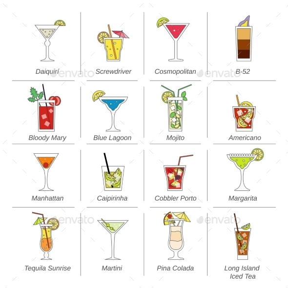 GraphicRiver Alcohol Cocktails Icons Flat Line 9815375