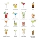 Alcohol Cocktails Icons Flat Line - GraphicRiver Item for Sale