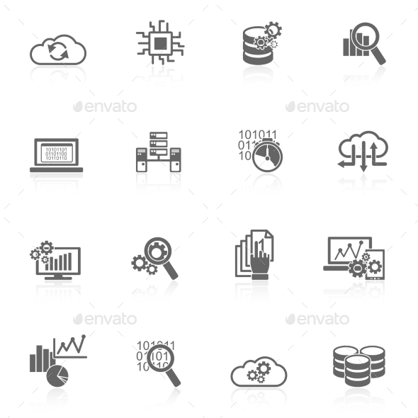 GraphicRiver Database Analytics Icons Black 9815379