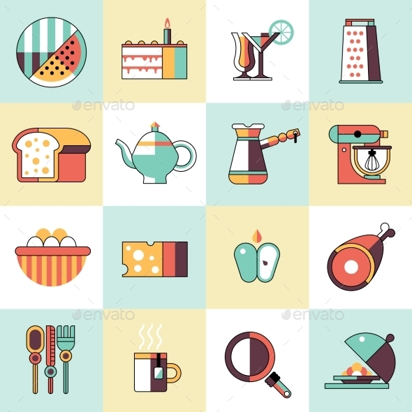 GraphicRiver Food Icons Flat Line Set 9815381