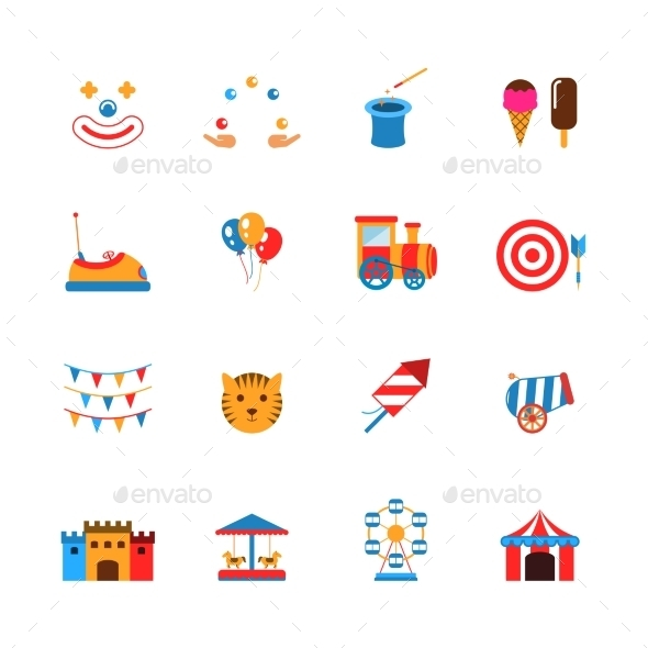 Amusement Park Icons Flat