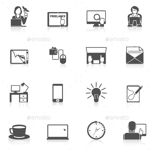 GraphicRiver Freelance Icon Black Set 9815388