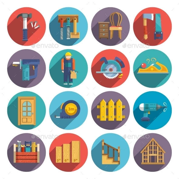 GraphicRiver Carpentry Icons Flat 9815411