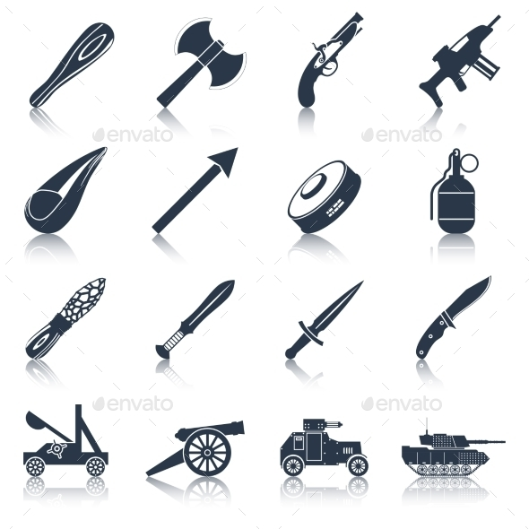 GraphicRiver Weapon Icons Black Set 9815421