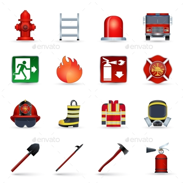 GraphicRiver Firefighter Icons Set 9815462