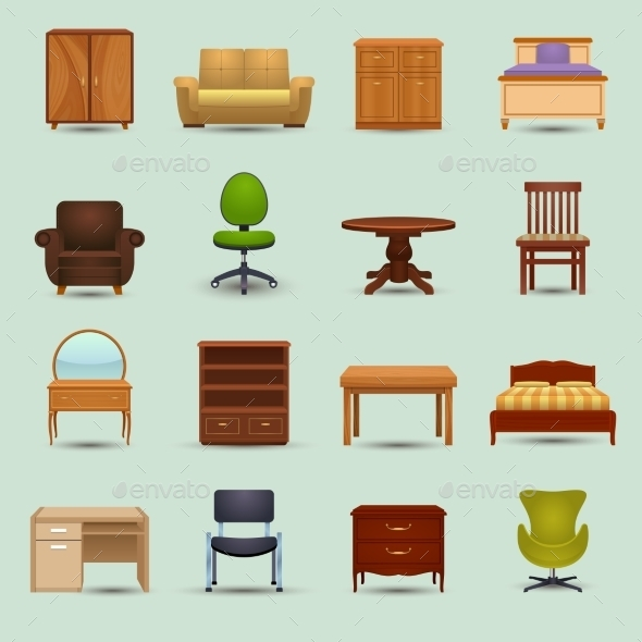 GraphicRiver Furniture Icons Set 9815474