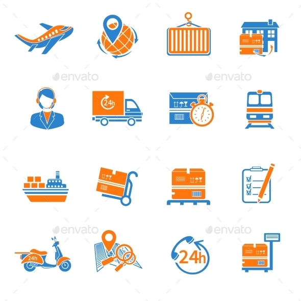 GraphicRiver Logistic Icons Set Orange 9815502
