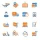 Logistic Icons Set Orange - GraphicRiver Item for Sale