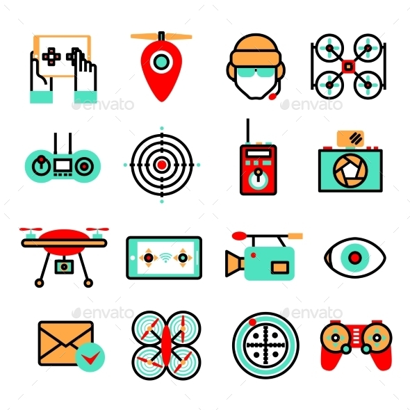 GraphicRiver Drones Icon Set 9815725