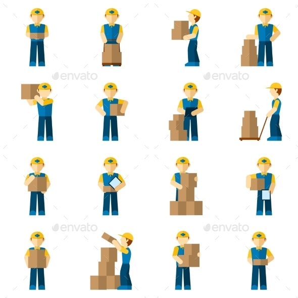 GraphicRiver Delivery Man Icon Flat 9815734