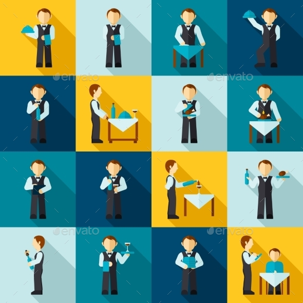 GraphicRiver Waiter Man Icon Flat 9815736