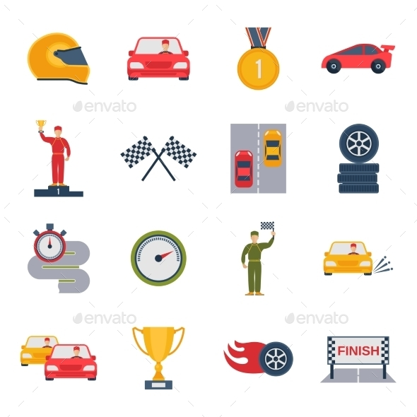 GraphicRiver Auto Sport Icon Flat 9815748