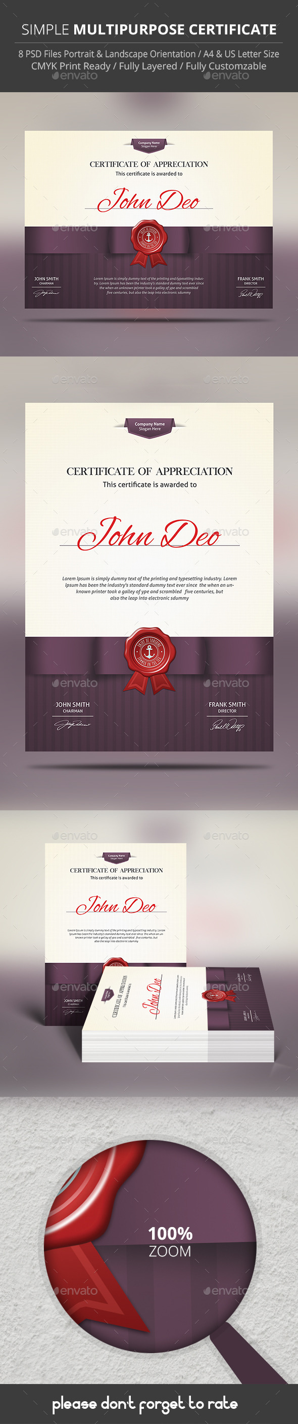 GraphicRiver Simple Multipurpose Certificate 9815829