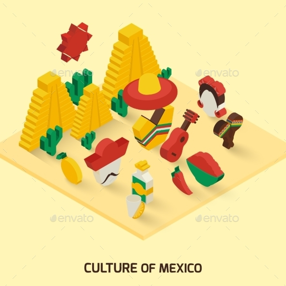 GraphicRiver Mexican Icon Isometric 9815933