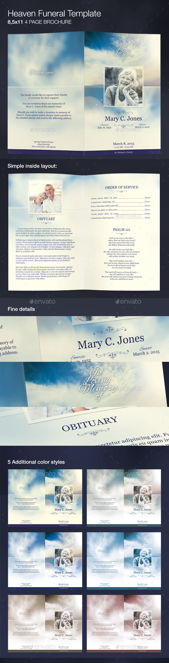GraphicRiver Heaven Funeral Program Template 9753716