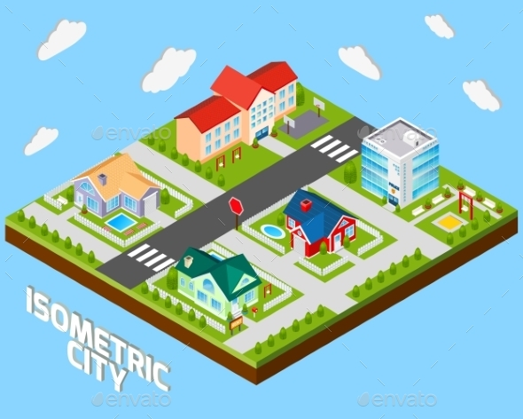 GraphicRiver Isometric City Project 9815981